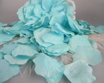 200 Rose Petals Spa Subtle Aqua blue - Artificial Petals Wedding Ceremony Petals - Flower Girl Petals - Tossing Petals - Craft  petals