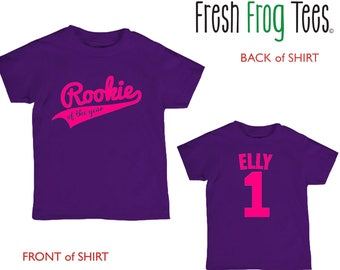 Rookie of the Year Birthday shirt - any age and name - pick your colors!