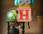 50% OFF - Robot Ornament - H Bot (Red) - Upcycled Ornament - Hanging Decor by Jen Hardwick