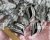 Set of 3 Black White Swirl Striped  Ornaments  - Hand Painted- (SEE Photos for measurements)- READY to SHIP -Sold as Shown
