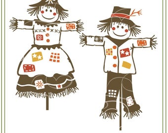 Scarecrow Couple SVG File, Rustic Wedding, Autumn. Country wedding, Fall crafts, vinyl cutting, cards, crafts, iron on transfer, signs