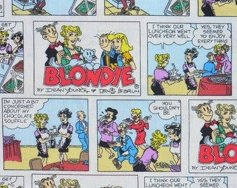 Blondie Comic Strip Fabric, Blondie and Dagwood, Blondie Fabric, By the Yard, Cotton Fabric, Hard to Find