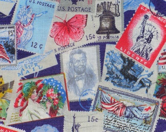 Patriotic Fabric, Patriotic Stamps,  American Fabric, Statue of Liberty, American Flags, Abraham Lincoln, By the Yard