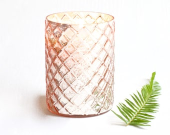 Beautiful Gift for Her Large Luxury Soy Candle, Home Decor, Mercury Glass Candles Pink and Gold Gift or wedding idea, Gift for Friend wife