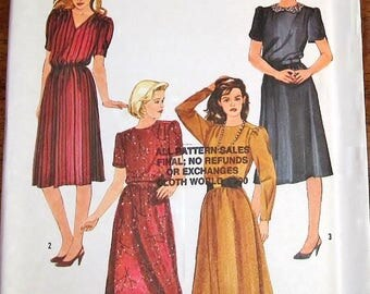 Vintage 1980s Sewing Pattern Simplicity 6619 Dress with Neckline Sleeve Options Womens Miss Size 10 12 14 Bust 32 34 36 Uncut Factory Folds