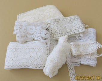 Vintage White Lace Sampler 7 Laces 4 to 5/8 Inches Wide Insert Scalloped Edge Lots of Yardage 706b