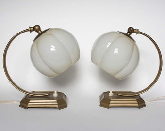 Pair of Art Deco Table Lamps. White Glass, Gold Metal
