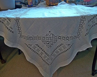 Antique Vintage White Italian Linen Tablecloth with Stunning Tenerife Milan Lace Inserts