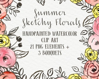 Summer Sketchy Blooms Floral Abstract Watercolor Floral Clip Art Digital  Roses Blooms PNG Wedding Invitation Small Commercial Use OK