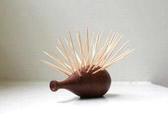 Danish Modern Teak Hedgehog Toothpick Holder Handmade Gematex Denmark