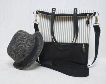 Leather Shopping Bag, Zipper Crossbody Messenger, Women Leather City Bag,  Leather Messenger, Striped Functional Bag, Christmas gift