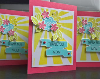 Floral Birthday Card for Mom, Thank You Card for Mother, Mother's Day Card, Mothering Sunday Card, Flower Card for Mum
