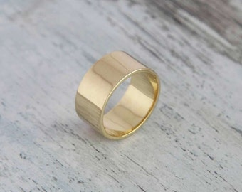 Gold Plain Ring, 14K Yellow Gold Wedding Ring - Flat Solid Ring, Yellow Gold Size 9 Plain Band Gift For Her Bridal Jewelry