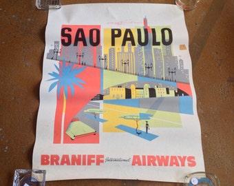 Original Braniff International Airways Sao Paulo Airline Poster