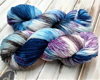 Chaotic Cascading Avalanche 4oz 280yds Licorice Twist Yarn DK Light Worsted Merino Wool Knitting Crochet Blue Purple Taupe