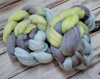 Mellow Skater 4oz Sparkle Fiber Superfine Merino Wool Stellina Combed Top Roving Spinning Gray Silver Grey Lime Green Baby Blue Pastel