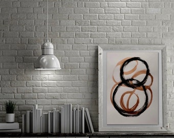 Original abstract art 18x24 inches on heavy art paper titled GOLD AND BLACK