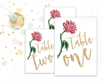 Wedding Table Numbers- 15 Table Identifiers - Be Our Guest - Beauty and the Beast Table Numbers - Decor - DIY Printable 5x7 - GFS0095
