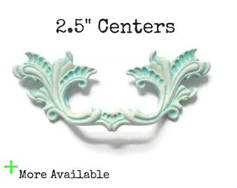 """CLEARANCE - White and Turquoise French Provincial Drawer Pulls 2.5"""" centers - Color Samples - More Available"""