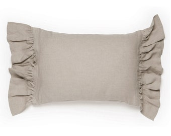 Linen pillowcase with large ruffles King pillowcases Euro shams or standard size pillowcases Vintage bedding collection