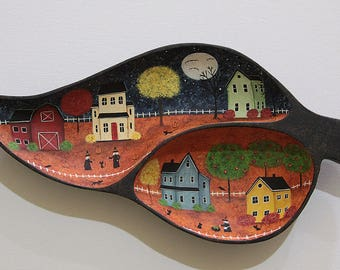 Halloween Folk Art Divided Serving Dish Hand Painted with Primitive Halloween Scene, Saltbox Village, Full Moon, Witches, Cat, READY TO SHIP