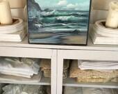 Vintage Petite Bright Teal Blue Ocean Waves Sea Beach Oil Painting