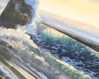 "Vintage Bright Teal Blue Ocean Waves Sea Beach Painting 30"" x 15"""