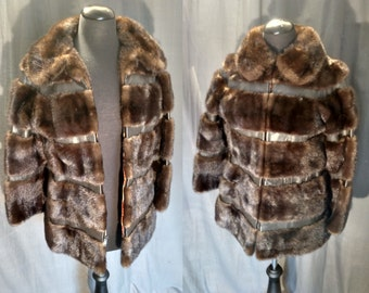Vintage 70s Chocolate Brown Mink and Leather Jacket by M. Blaustein of Short Hills,NJ Excellent Condition Foxy Lady