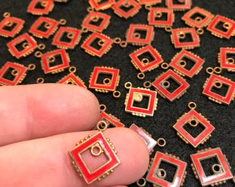 51 ENAMEL earring component. enamel finding. enamel pendants  Squares charms . vintage jewelry supply  N0.0021