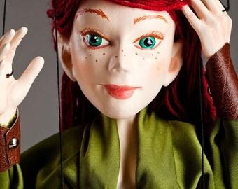 Erunis Redhead Elf Czech handmade marionette string puppet
