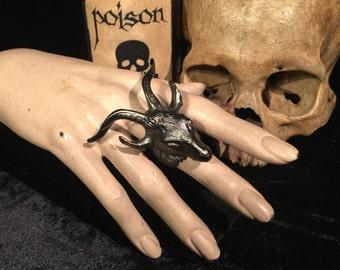 BLACK PHILLIP Goat Ring Impressive Sabbatic Goat Occult Statement Ring at Gothic Rose Antiques