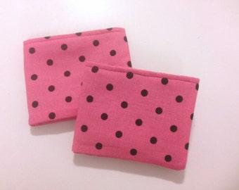 Pink and Black Polka Dot Girls Bi Fold Wallet with Velcro