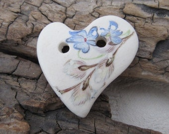 Willow Bud Folk Heart Ceramic Button