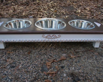 Raised Dog Feeder, Pet Feeding, Distressed White and Dark Brown,  Cottage Chic, 2 Two Qt, 1 Three Qt, Stainless Bowls Made to Order