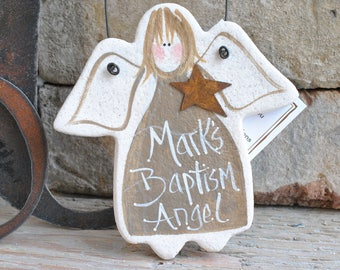 Baptism Gift Salt Dough Angel Ornament Birthday Christmas Ornament