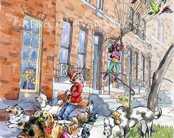 "Illustration Art Print of Boy Walking Dogs and Girl ""Walking"" Birds 13x19"