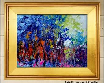 Neverending Light  - Original Abstract Oil Painting Landscape Painting by Claire McElveen , Available Framed As Shown