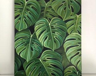 Original oil Monstera leaves by Carin Vaughn