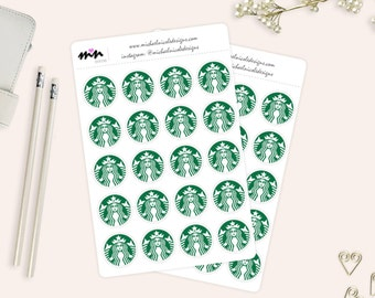 "Starbucks Coffee Stickers, 1"" Matte or Glossy Stickers - 20 Stickers - Perfect for Planner and Calendars 