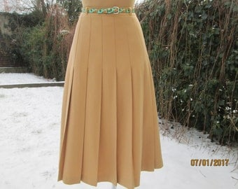 Wool Pleated Skirt / Woolen Skirt / Pleated Skirt / Pleated Skirts / Yellow Pleated Skirt / Woolen Skirt Size EUR42 / UK14