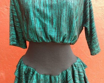 Vintage 1980s Green and Black Dress Size 16