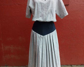 Vintage Navy and White Striped Dress 1980s