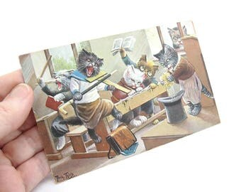 Cat Card. Antique Postcard. Naughty Cats in School at Breaktime. Dressed Animals Collectible. Arthur Thiele Artist. 1910s Germany Paper