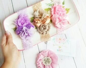 Roses Headbands, Lace Head Band, Baby Headband, Girls Headband, Handmade Flowers, Headband, Lace Headband, Shabby Chic, Hair Bands