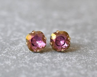 SALE Gold Lilac Plum Earrings Swarovski Crystal Golden Lilac Plum Stud Super Sparklers Square Earrings Mashugana
