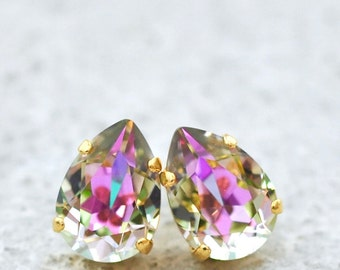 Pastel Rainbow Bridesmaids Earrings Swarovski Crystal Purple Blue Rainbow Tear Drop Studs Clip On leverback Dangles Rainbow Earrings Wedding