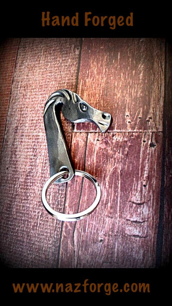 FORGED HORSE HEAD Keychain - Hand Forged and Signed by Blacksmith Naz - Cowboy Cowgirl Equine Custom Gift - Personalization Option Available