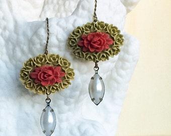 Red Rose Pearl Earrings, Red Flower Pearl Earrings, Pearl Dangle Drop Earrings, Burgundy Olive Green Pearl Earrings