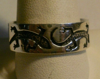 Sterling Silver Man's Salamander Band Ring-Size 12