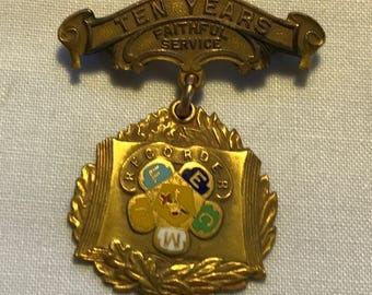 Vintage Royal Neighbors Of America 10 Year Service Medal/Pin